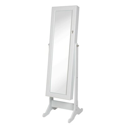 Neilsen Cheval Mirror Jewelry Armoire with Mirror Color: White