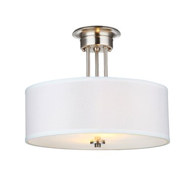 Neiman 2-Light Semi Flush Mount Base Finish: Satin Nickel