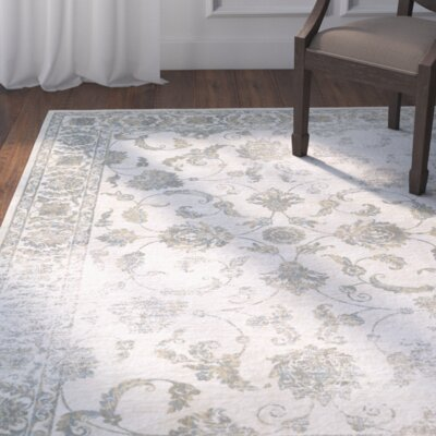 Nadine Botanic Applique Dew/Gray Area Rug Rug Size: Rectangle 92 x 125