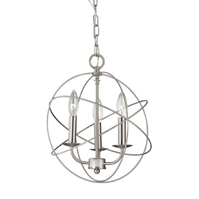 Nickerson 3-Light Candle-Style Chandelier Finish: Brushed Nickel