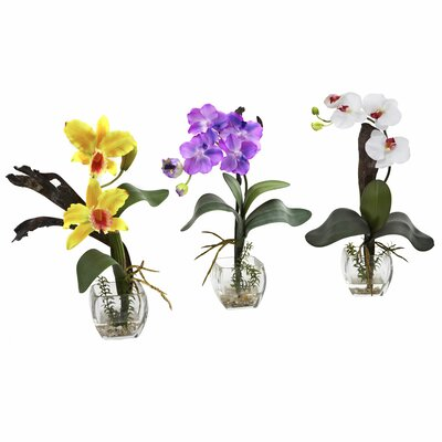 Mixed Orchid with Cube Flowers Color: Yellow/Purple/White ACOT4147 38022991