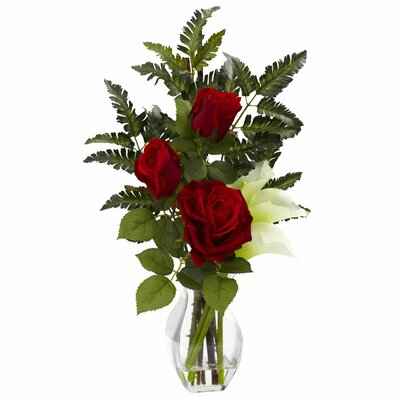 Rose and Calla with Vase Arrangement Color: Cream