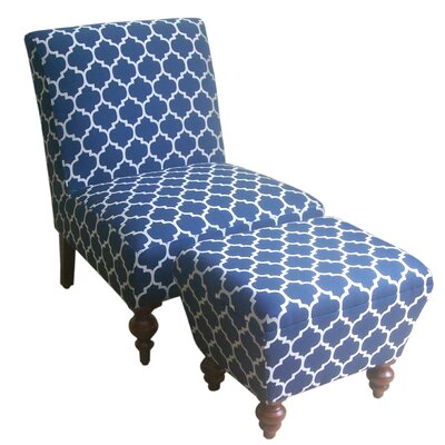 Norridge Slipper Chair and Ottoman Upholstery: Navy