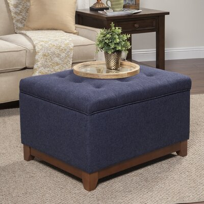Nunnally Upholstered Storage Cocktail Ottoman Upholstery: Navy