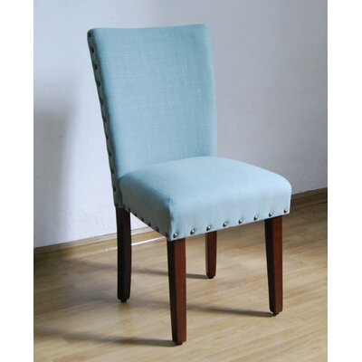 Obry Parsons Chair Upholstery: Sea Foam, Finish: Brown