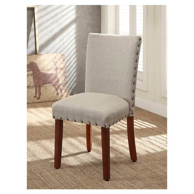Obry Parsons Chair Upholstery: Tan, Finish: Brown