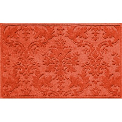 Olivares Damask Doormat Color: Orange, Rug Size: 2'10