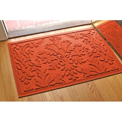 Olivares Damask Doormat Rug Size: Rectangle 2 x 3, Color: Orange