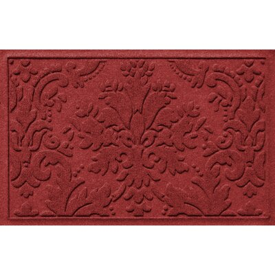 Olivares Damask Doormat Mat Size: Rectangle 2 x 3, Color: Red