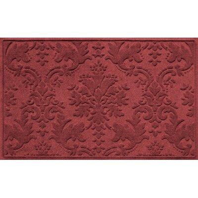 Olivares Damask Doormat Rug Size: Rectangle 210 x 44, Color: Red
