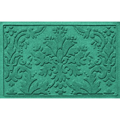 Olivares Damask Doormat Mat Size: Rectangle 2 x 3, Color: Aquamarine