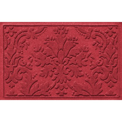Olivares Damask Doormat Rug Size: 2 x 3, Color: Solid Red