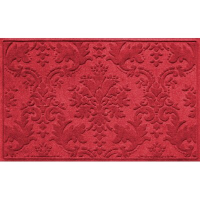 Olivares Damask Doormat Rug Size: Rectangle 210 x 44, Color: Solid Red