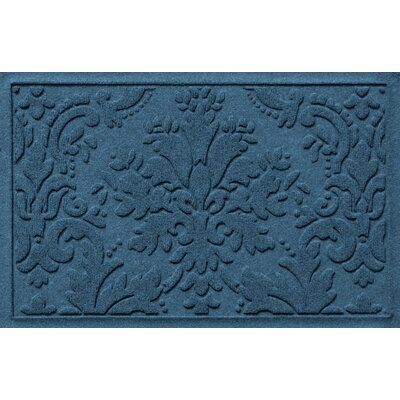 Olivares Damask Doormat Mat Size: Rectangle 2 x 3, Color: Navy