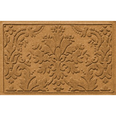 Olivares Damask Doormat Mat Size: Rectangle 2 x 3, Color: Gold