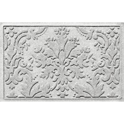 Olivares Damask Doormat Rug Size: 2 x 3, Color: White