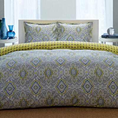 Olive Reversible Duvet Cover Set Size: Full / Queen, Color: Yellow