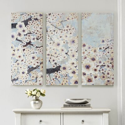 'Gleeful Bloom' 3 Piece Painting Print on Wrapped Canvas Set