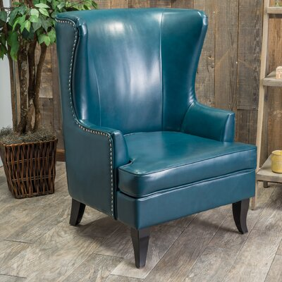 Roundtree High Back Wing Club Chair Color: Teal