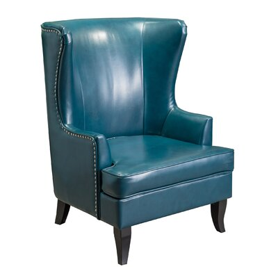 Roundtree High Wingback Chair Upholstery: Teal