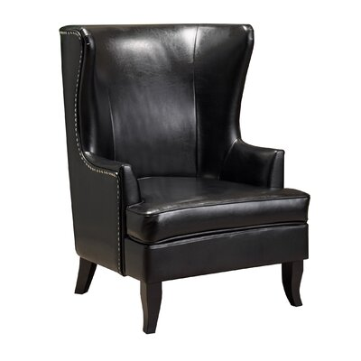 Roundtree High Wingback Chair Upholstery: Black