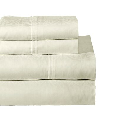 Rundell 300 Thread Count Cotton Sheet Set Size: Twin, Color: Bone
