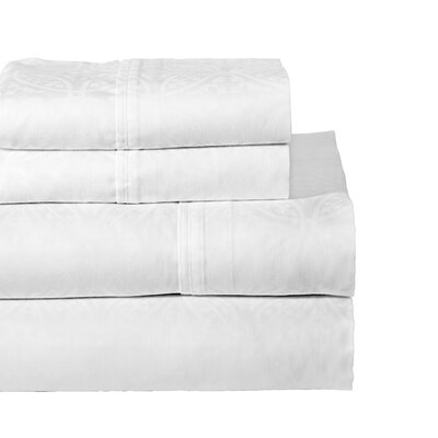 Rundell 300 Thread Count Cotton Sheet Set Size: Queen, Color: White