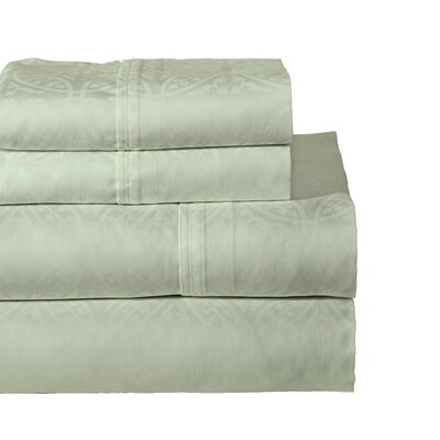 Rundell 300 Thread Count Cotton Sheet Set Color: Sage, Size: Full