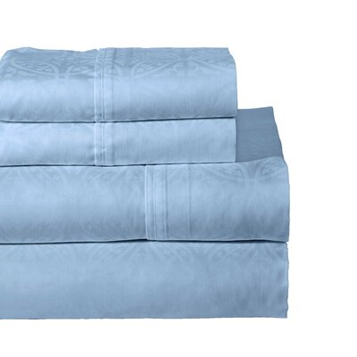 Rundell 300 Thread Count Cotton Sheet Set Size: Full, Color: Blue