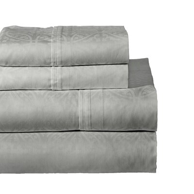 Rundell 300 Thread Count Cotton Sheet Set Size: Queen, Color: Grey