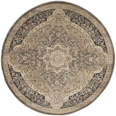 Pepperidge Taupe/Black Area Rug Rug Size: Round 67