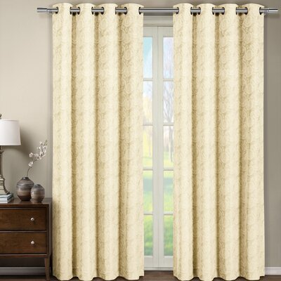 Aledo Jacquard Geometric Semi-Sheer Grommet Curtain Panels