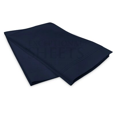 Schueller 100% Long Staple Cotton Pillowcase Size: King, Color: Navy Blue