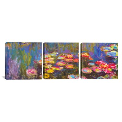 Water Lilies 3 Piece by Claude Monet Painting Print on Wrapped Canvas Set Size: 12