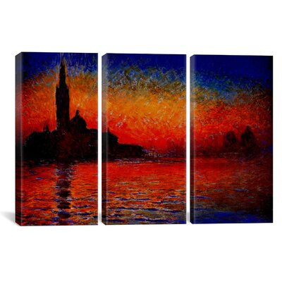 Alcott Hill Sunset in Venice by Claude Monet 3 Piece Painting Print on Wrapped Canvas Set