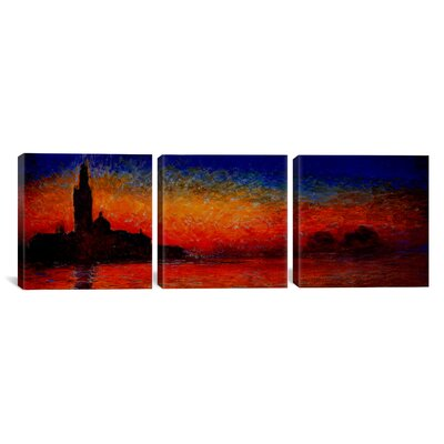 Sunset in Venice by Claude Monet 3 Piece Painting Print on Wrapped Canvas Set Size: 12