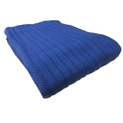 Colbert All Seasons Cotton Cable Throw Blanket Size: Full / Queen, Color: Royal Blue