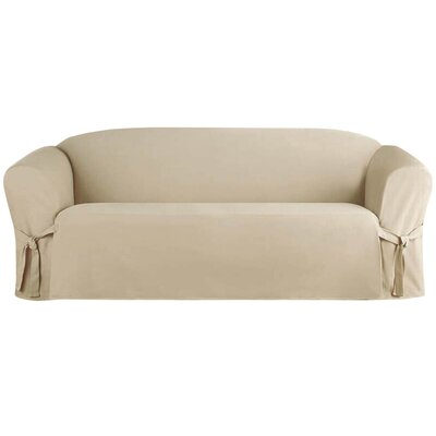 Solid Box Cushion Sofa Slipcover Upholstery: Taupe