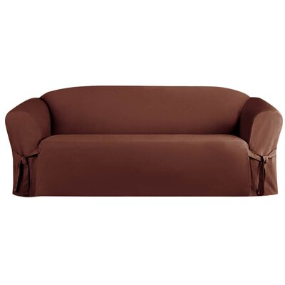 Solid Faux Suede Sofa Slipcover Upholstery: Brown