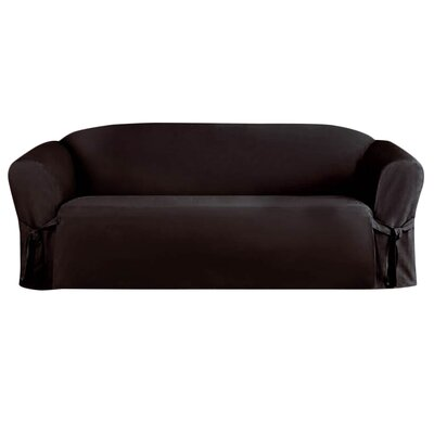 Solid Faux Suede Sofa Slipcover Upholstery: Black