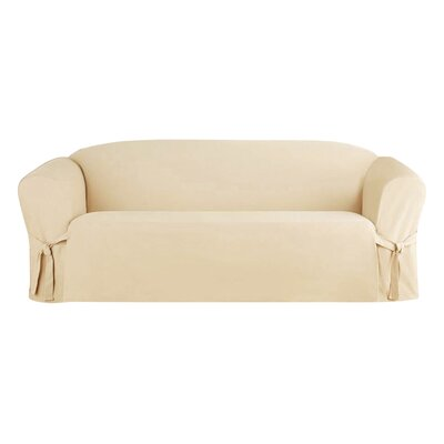 Solid Box Cushion Sofa Slipcover Upholstery: Beige