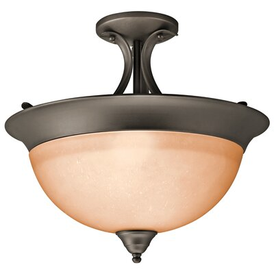 Cayman 3-Light Semi Flush Mount Finish: Olde Bronze, Bulb Type: Incandescent