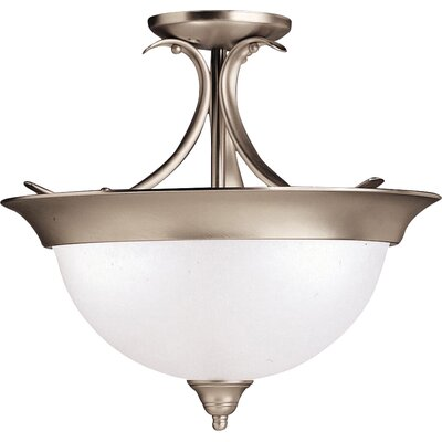 Cayman 3-Light Semi Flush Mount Finish: Brushed Nickel, Bulb Type: Incandescent