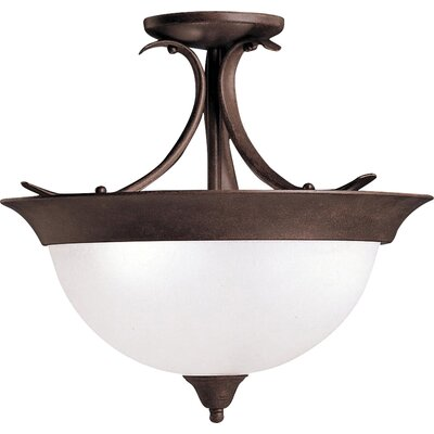 Cayman 3-Light Semi Flush Mount Finish: Tannery Bronze, Bulb Type: Incandescent