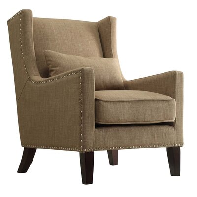 Oneill Wingback Arm Chair Color: Light Brown