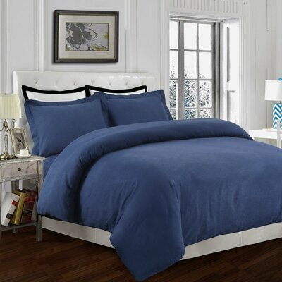 Clarks Row 3 Piece Reversible Duvet Set Size: King, Color: Dark Blue