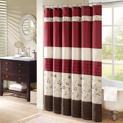 Elliott Shower Curtain Color: Red, Size: 96 H x 72 W