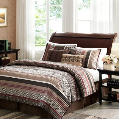 Ellwood 5 Piece Reversible Coverlet Set Size: Full / Queen, Color: Red