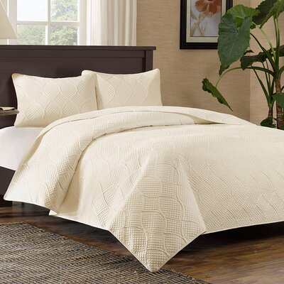 Elmira 3 Piece Coverlet Set Color: Ivory, Size: King / California King