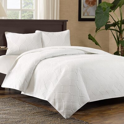 Elmira 3 Piece Coverlet Set Size: King / California King, Color: White
